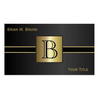 Executive Classic Black Monogram Business Cards