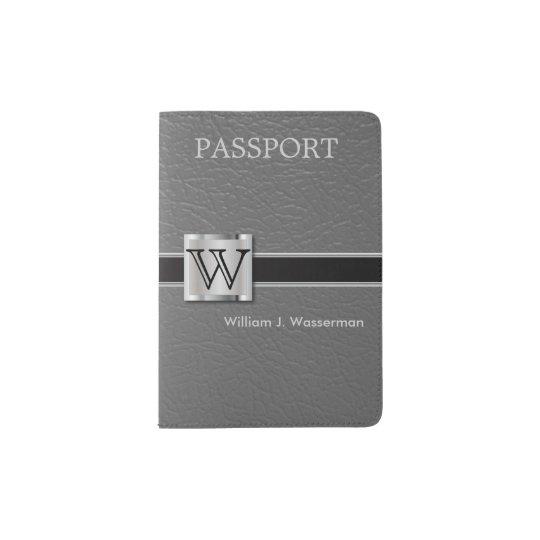Executive Grey Leather Style | Monogram Passport Holder