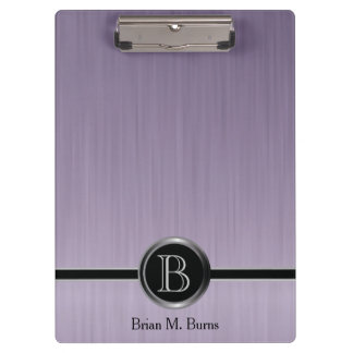 Executive Monogram Design - Amethyst Brush Steel Clipboards