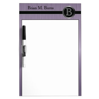 Executive Monogram Design - Amethyst Brush Steel Dry Erase White Board