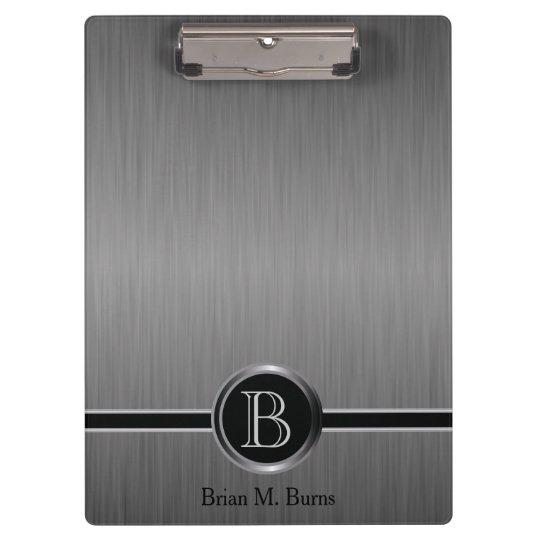 Executive Monogram Design - Black Brush Steel Clipboard
