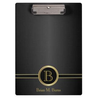 Executive Monogram Design - Classic Black Clipboard