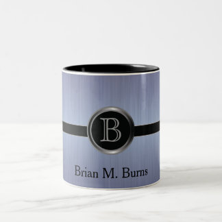 Executive Monogram Design - Sapphire Brush Steel Two-Tone Coffee Mug
