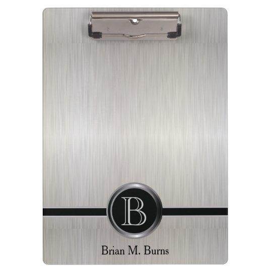 Executive Monogram Design - White Brush Steel Clipboard