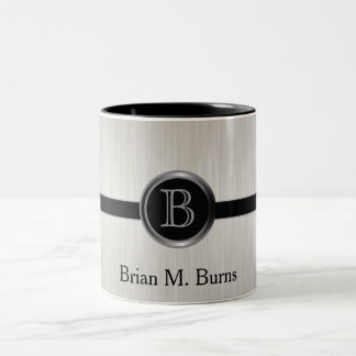 Executive Monogram Design | White Brush Steel Two-Tone Coffee Mug
