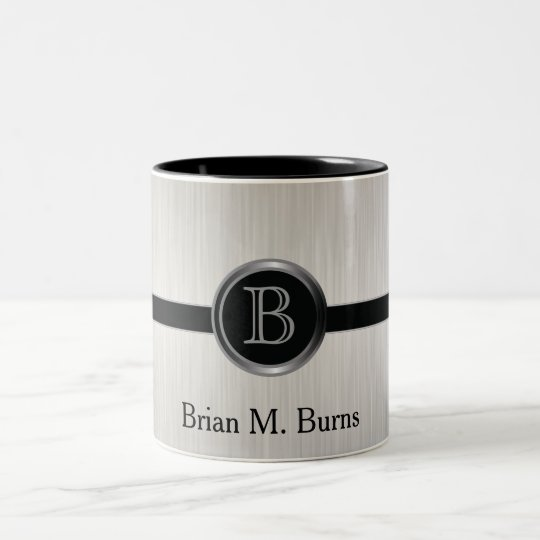 Executive Monogram Design | White Brush Steel Two-Tone