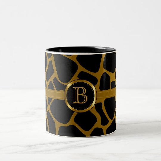 Executive Monogram - Gold & Black Giraffe Pattern