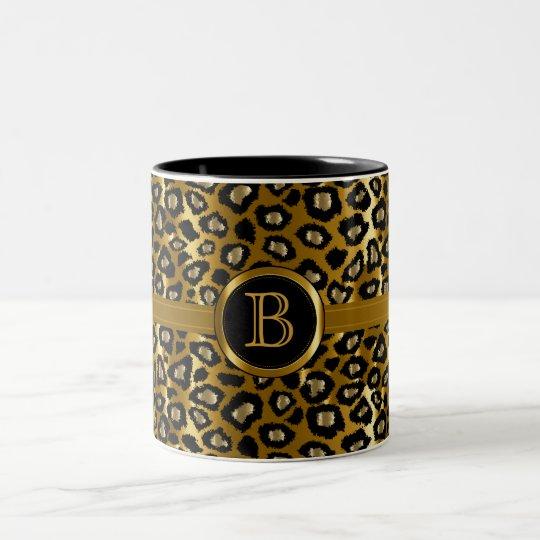 Executive Monogram - Gold & Black Leopard Pattern