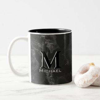 Executive Monogram White Black Marble Two-Tone Coffee Mug