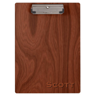 Executive Monogrammed Name Mahogany Wood Look Clipboard