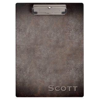 Executive Monogrammed Rustic Brown Leather Look Clipboard