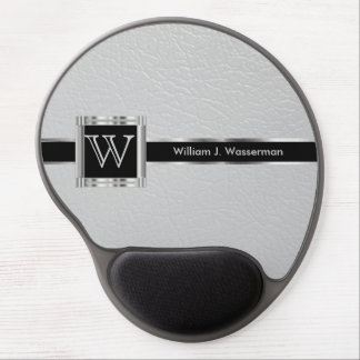 Executive Office Monogram Light Gray Leather Gel Mouse Mat
