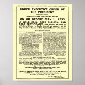Executive Order 6102 Forbidding Gold Coin Bullion Poster