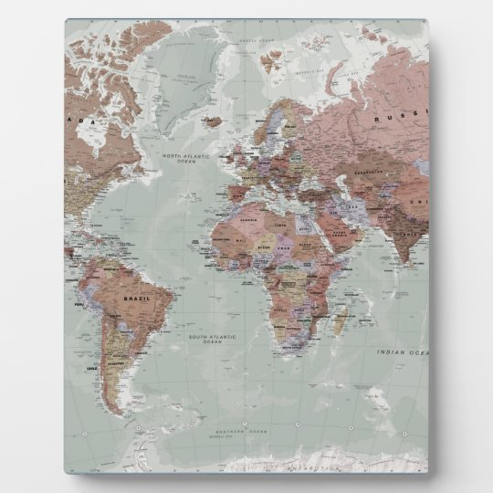 Executive World Map Plaque