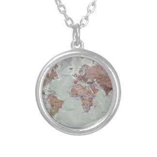 Executive World Map Silver Plated Necklace
