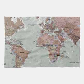Executive World Map Tea Towel