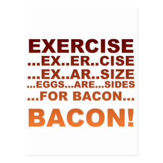 Exercise bacon postcard