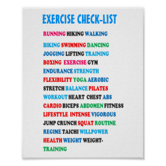 EXERCISE CHECK-LIST GYM Weight Health Heart Cancer Poster