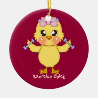 Exercise Chick customizable Christmas Tree Ornament