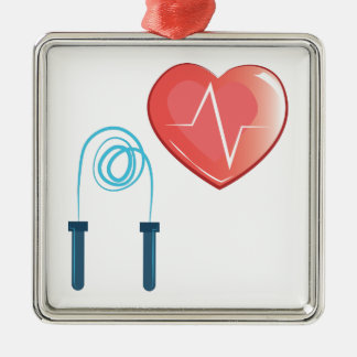 Exercise Heart Silver-Colored Square Decoration