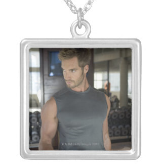 Exercising, Gym, Sport, Man, Body care, Day, Square Pendant Necklace