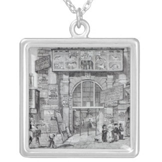 Exeter Change showing the entrance Silver Plated Necklace