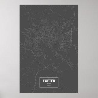 Exeter, England (white on black) Poster