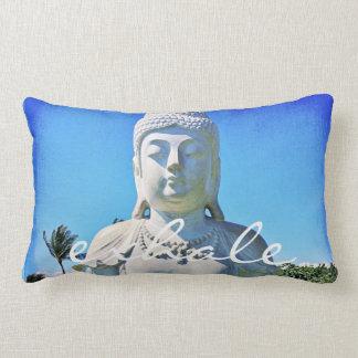 """Exhale"" Quote Hawaii White Buddha Photo Lumbar Cushion"