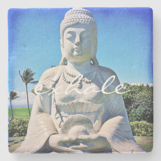 """Exhale"" Quote Peaceful Hawaii White Buddha Photo Stone Coaster"