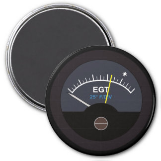 Exhauset Gas Temperature Gauge for Nerd Geeks 7.5 Cm Round Magnet