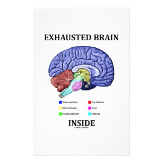 Exhausted Brain Inside (Anatomical Brain Humor) Stationery Design