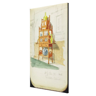 Exhibition Cabinet, c.1860s-70s (w/c & pencil on p Stretched Canvas Print