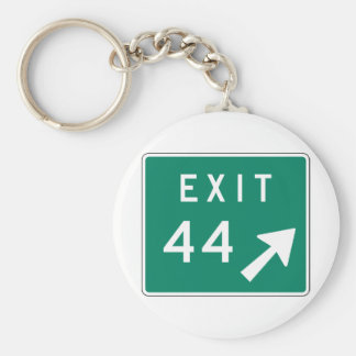 Exit 44 Street Sign Basic Round Button Key Ring