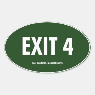 Exit 4 East Sandwich Massachusetts Oval Bumper Oval Sticker