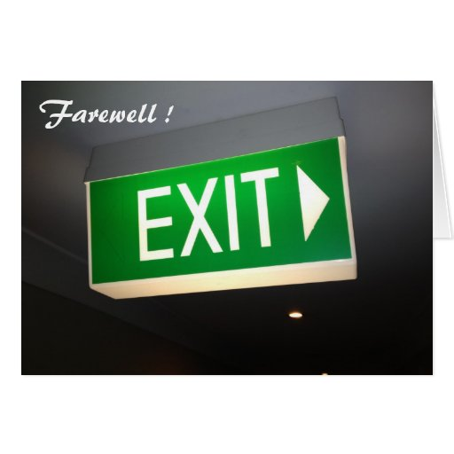 exit farewell greeting cards