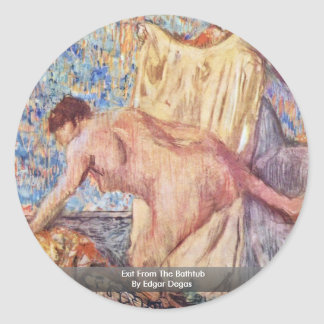 Exit From The Bathtub By Edgar Degas Round Sticker