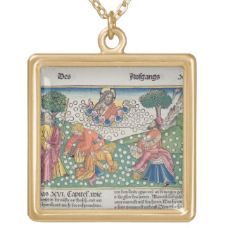Exodus 16 13-22 God provides quail and manna to th Gold Plated Necklace