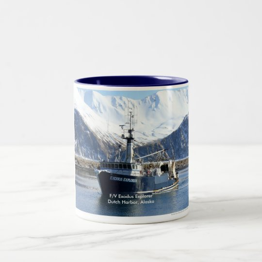Exodus Explorer, Fishing Trawler in Dutch Harbour Two-Tone Coffee Mug