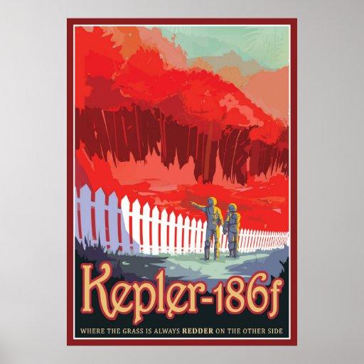 Exoplanet Kepler-186f Sci-fi Travel Illustration Poster