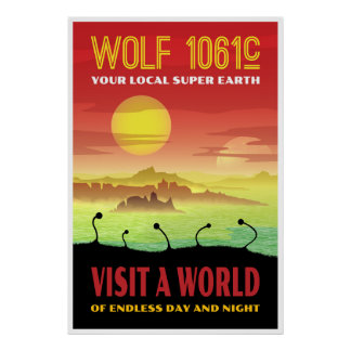 Exoplanet Wolf 1061c Retro Travel Illustration Poster