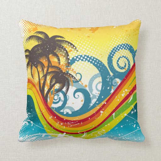 Exotic Abstract Deserted Island Print Throw Pillows