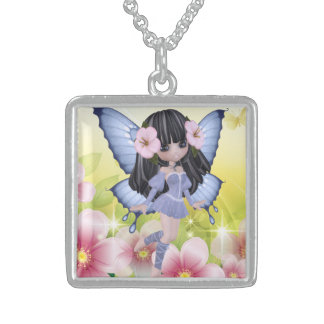 Exotic and Amazing Brunette Princess Fairy Girl Square Pendant Necklace