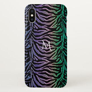 Exotic Animal Print Striped Monogram iPhone X Case