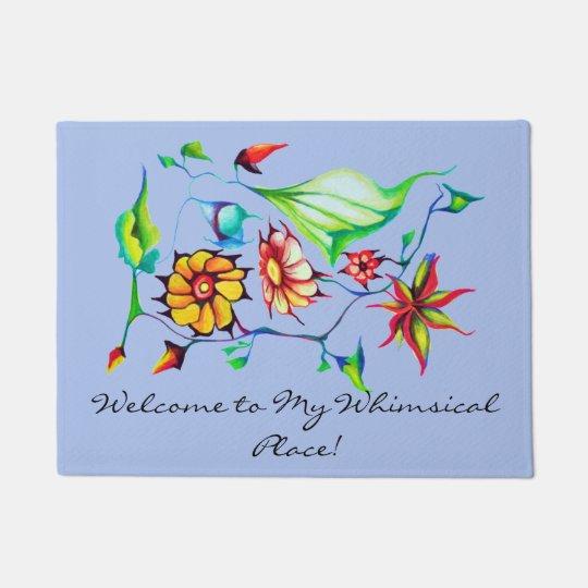 Exotic Art Deco Watercolor Flowers - Blue Grey