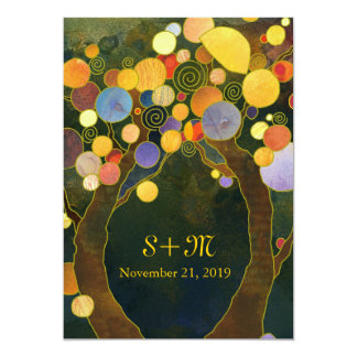 Exotic Artistic Love Trees Monogram Wedding 13 Cm X 18 Cm Invitation Card
