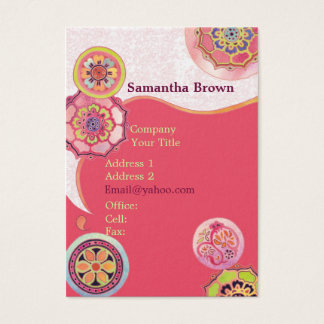 Exotic Asian Lotus Patterns Pink Business Cards