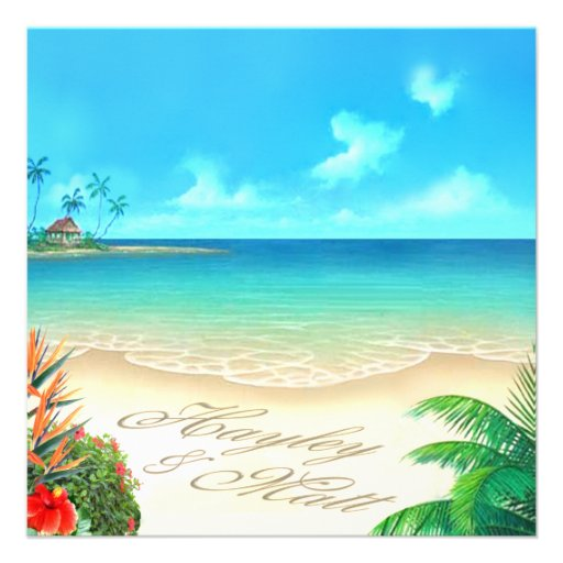 Exotic Beach (ask me to put your names in sand) Personalized Invites