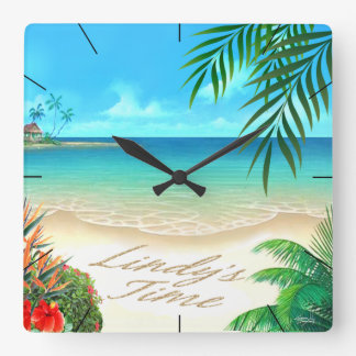 Exotic Beach ::CUSTOM for Lindy:: Square Wall Clock