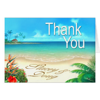 Exotic Beach Thank You Note Card