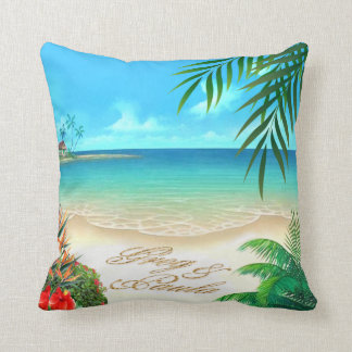 Exotic Beach Tropical ask me to add names in sand Throw Pillow